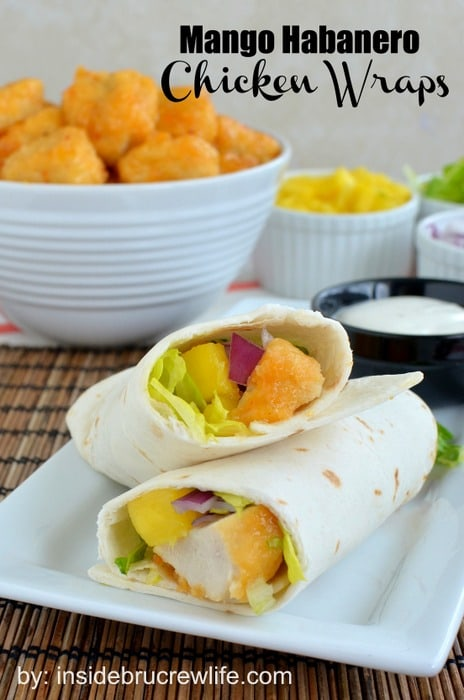 Mango Habanero Chicken Wraps from www.insidebrucrewlife.com - easy chicken wraps for dinner