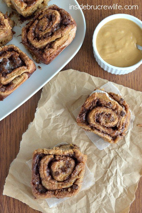 Mocha Chip Cinnamon Rolls - these easy NO YEAST cinnamon rolls can be made in under an hour