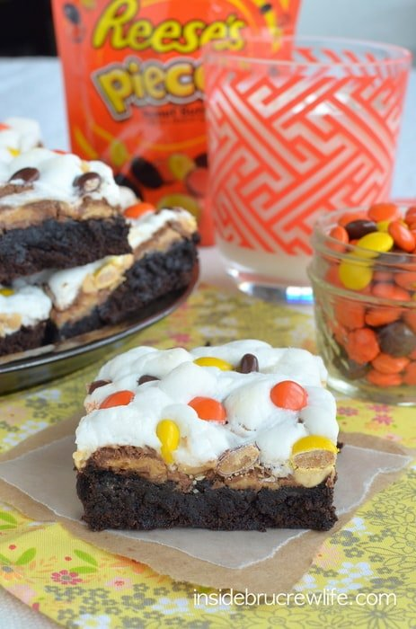Marshmallows, peanuts, and Reese's make these brownies amazing!! You need to try a pan to see how good they are!