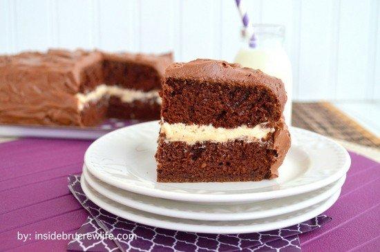 Salted Caramel Chocolate Cake - this easy homemade chocolate cake has layers of salted caramel and chocolate frosting! Great recipe for any party!