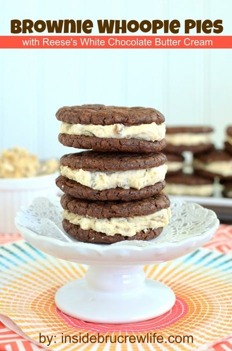 Brownie Whoopie Pies with Reese's White Chocolate Butter Cream