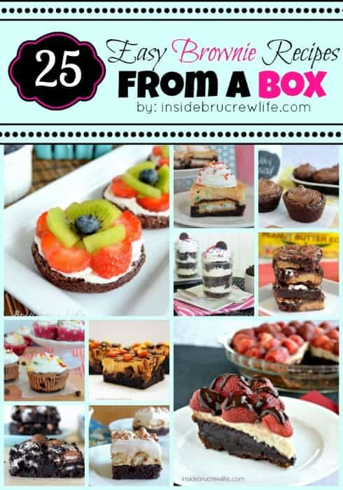 25 Easy Brownie Recipes from a Box - get ready to jazz up your box brownie mix with candy, fruit, and cookies. Get ready to make brownies for days with this fun list of recipes! #brownies #chocolate #dessert #boxmix