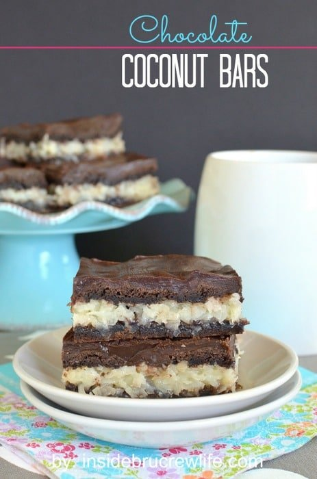 Chocolate Coconut Bars - a creamy coconut filling inside a soft cake bar makes a delicious dessert. Easy recipe to share with friends!