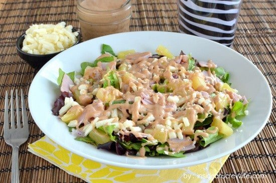 Ham and Pineapple Salad - salad greens topped with ham, pineapple, mozzarella cheese and ranch barbecue sauce.  Healthy eating never tasted so good.  #salad