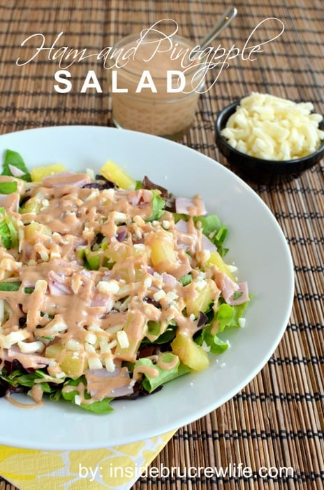 Salad - salad greens topped with ham, pineapple, mozzarella cheese ...