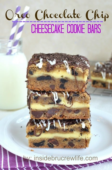 Chocolate chip cookie dough layered with cheesecake and topped with chocolate and cookie crumbs makes a great dessert to share!