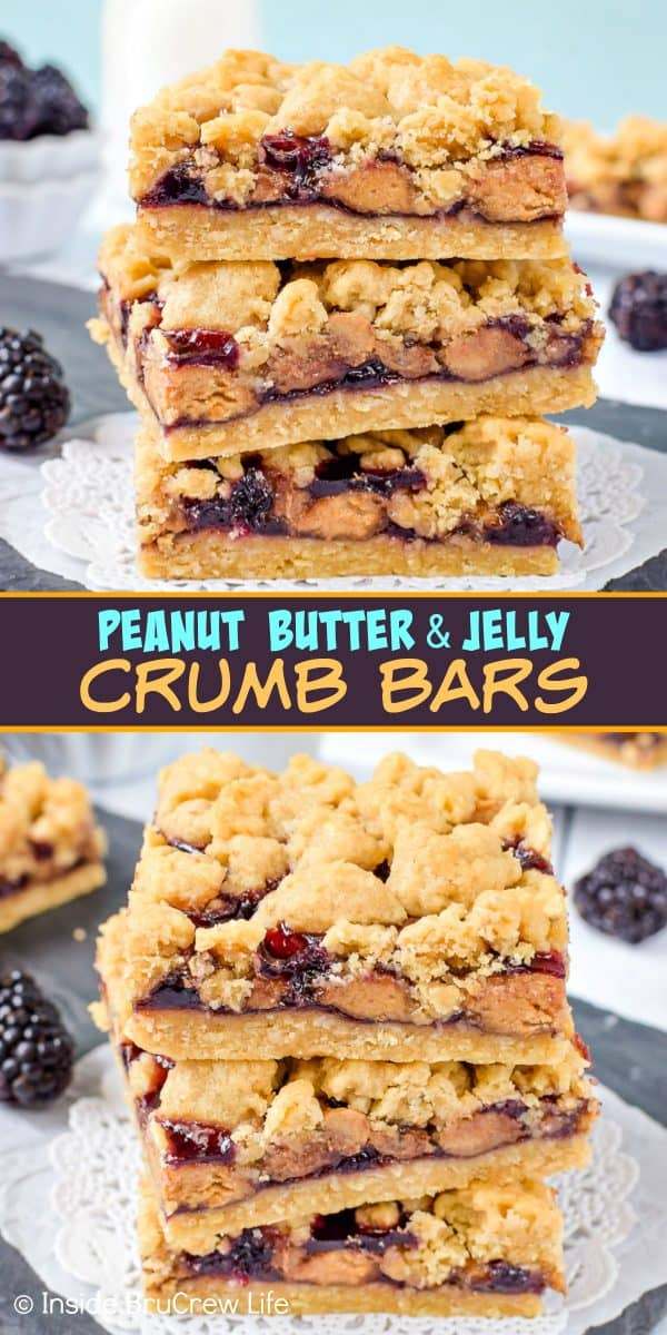 Peanut Butter and Jelly Crumb Bars - these easy crumble cookie bars have peanut butter cups and blackberry jelly in the center. Make this easy recipe for picnics or after school snacks. #peanutbutterandjelly #cookiebars #peanutbuttercups #blackberry #backtoschool