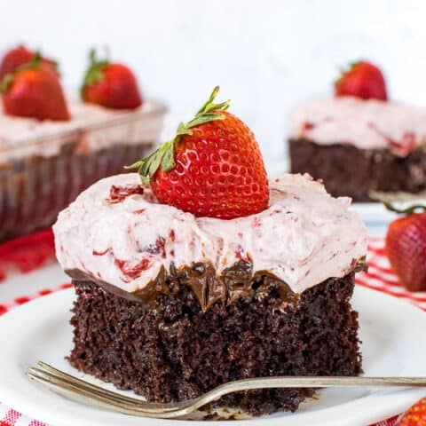 Strawberry Fudge Poke Cake