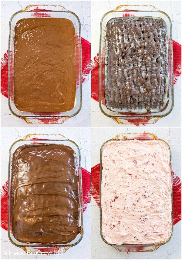 Four pictures showing how to make and top a strawberry fudge poke cake