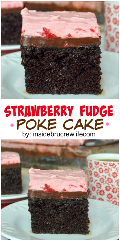 Chocolate cake with a strawberry topping and hot fudge makes this an amazing dessert.