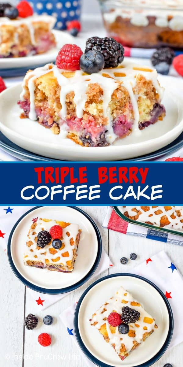 Triple Berry Coffee Cake - three kinds of fruit, buttery streusel, and a sweet glaze makes this soft coffee cake taste amazing! Make this easy recipe for breakfast this summer! #coffeecake #freshfruit #tripleberry #breakfast