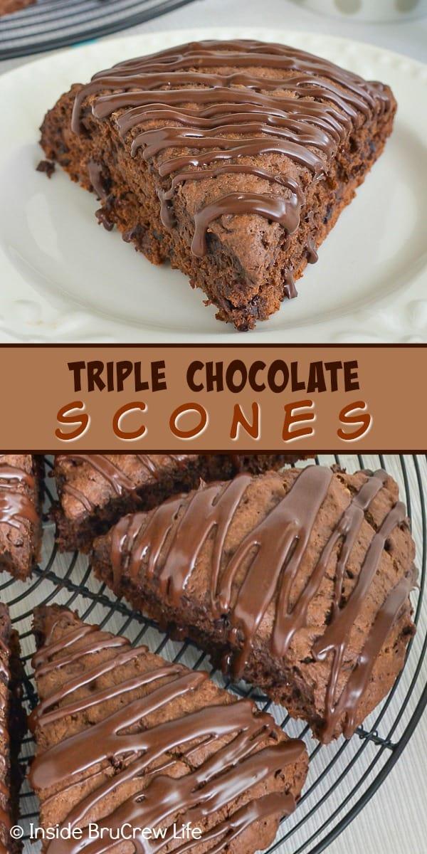 Triple Chocolate Scones - these soft and flakey brownie scones are the perfect breakfast treat for the chocolate lovers in your life. Try this easy recipe and watch them disappear! #scones #chocolate #breakfast #triplechocolate
