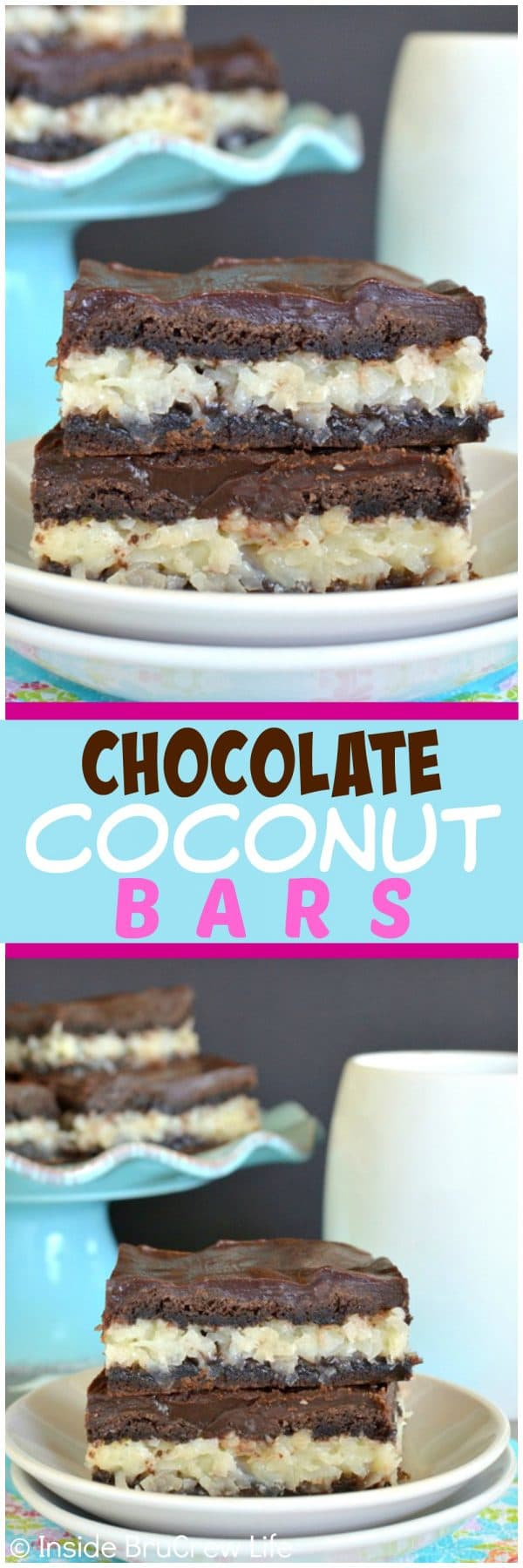 Chocolate Coconut Bars - these easy bars have a creamy coconut filling, chocolate crust, and chocolate glaze! Easy dessert recipe for sharing!