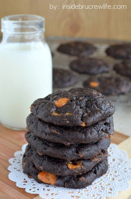 Dark Chocolate Butterfinger Cookies | Inside BruCrew Life - soft, dark chocolate cookies filled with plenty of #Butterfinger candy chunks #cookies