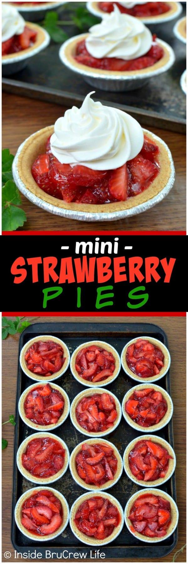 Mini Strawberry Pies - fresh berries and Jello make these cute little pie crusts the perfect summer dessert recipe!