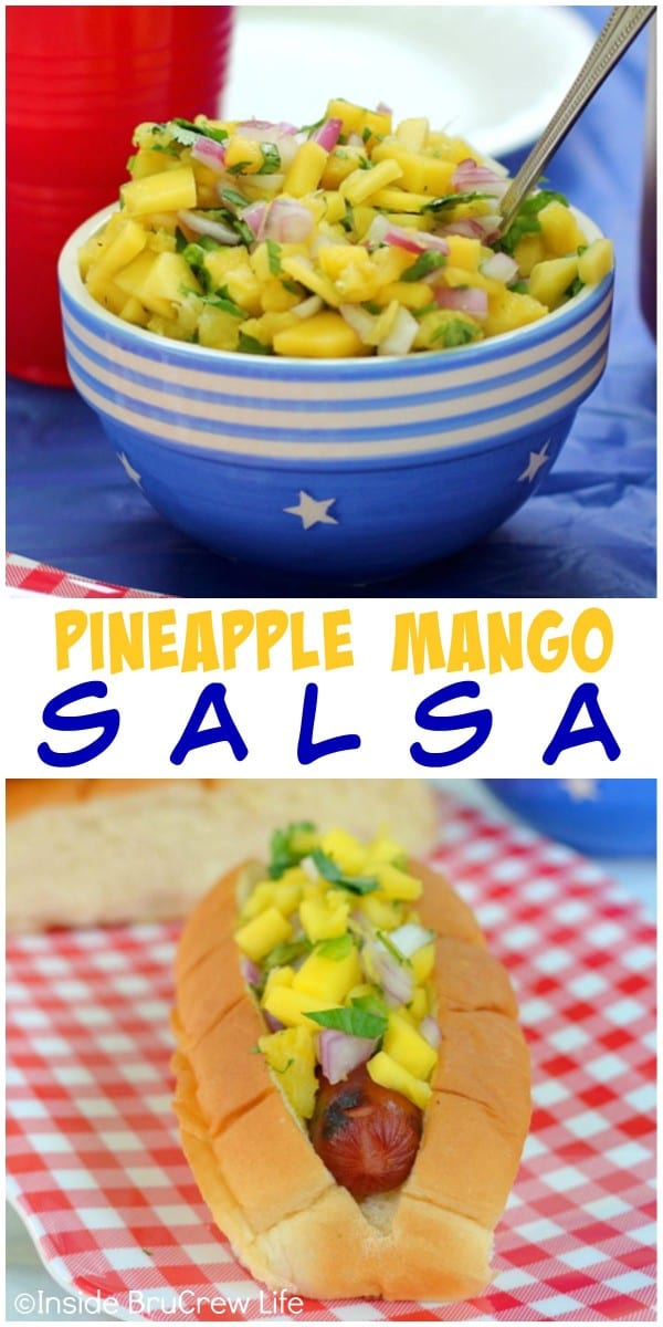 Add this spicy and sweet pineapple mango salsa to your next hot dog topping bar!!