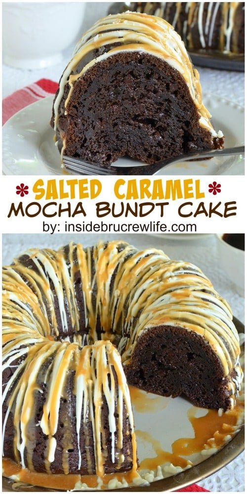 Salted Caramel Mocha Bundt Cake - caramel and chocolate drizzles make this easy cake look so fancy!  Great dessert recipe!