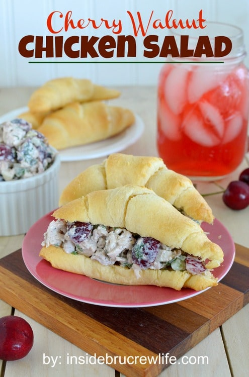 Cherry Walnut Chicken Salad - easy chicken salad made with fresh cherries, walnuts, and cilantro. Awesome dinner recipe!