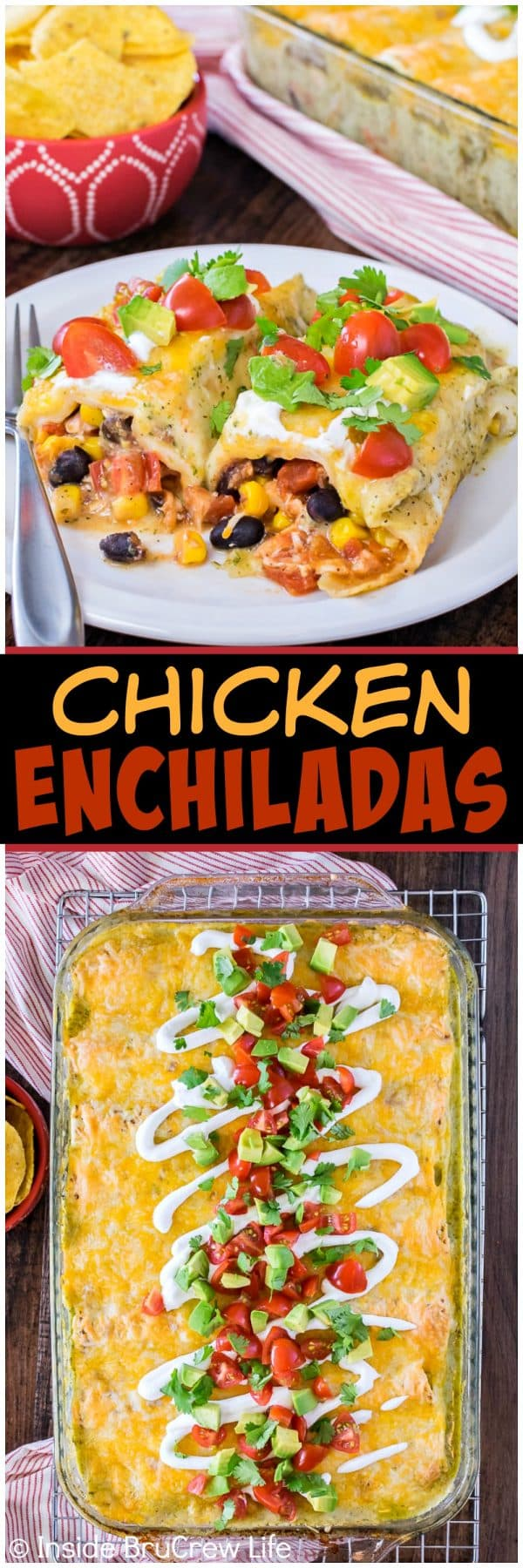Easy Chicken Enchiladas - these easy tortillas are loaded with beans, veggies, and shredded chicken. Great recipe to make for busy nights! #dinner #chicken #enchiladas #mexican #greensauce #easydinner