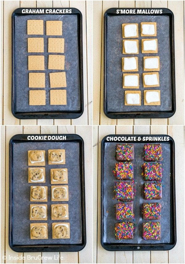 Four pictures collaged together showing how to put together no bake cookie dough s'mores