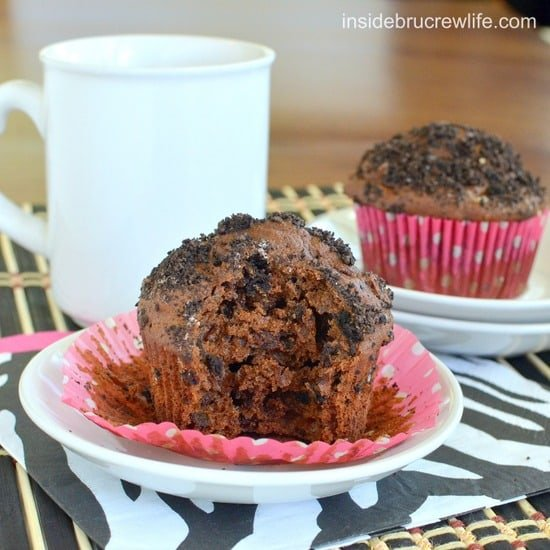 Mocha Cookies and Cream Muffins | Inside BruCrew Life - chocolate muffins made with coffee and chocolate cookies #breakfast #muffins