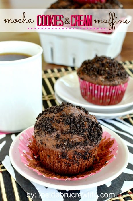 Mocha Cookies and Cream Muffins   Inside BruCrew Life - chocolate muffins made with coffee and chocolate cookies #breakfast #muffins