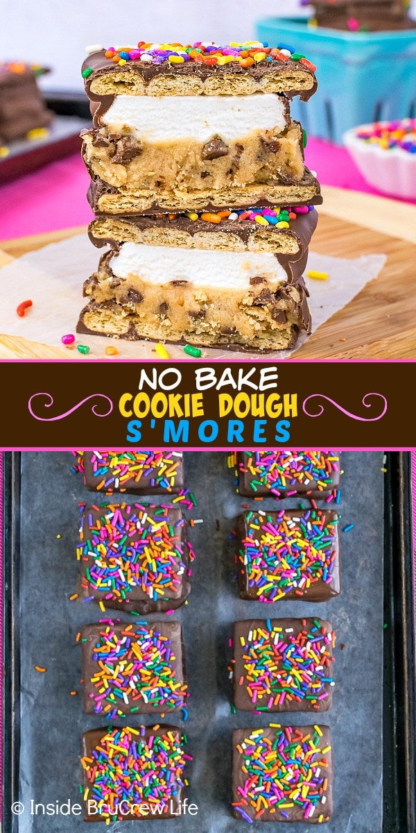 Two pictures of no bake cookie dough s'mores collaged together with a brown text box