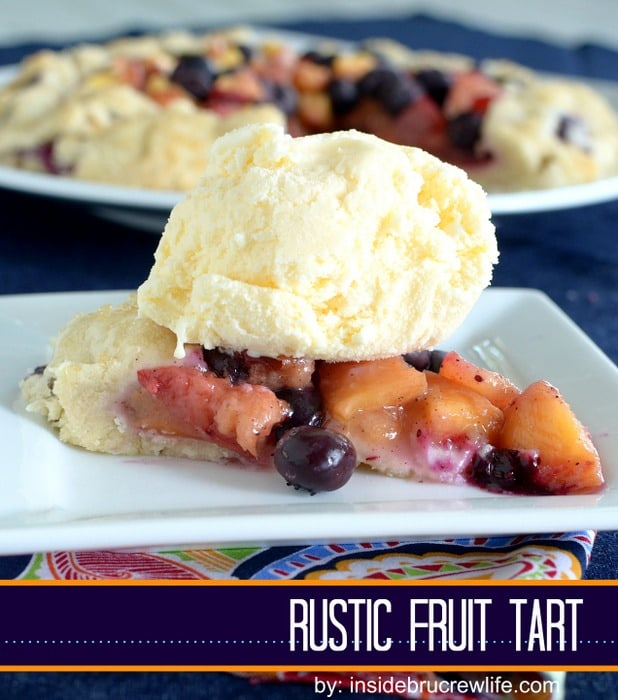 Rustic Fruit Tart - homemade pie crust filled with blueberries and nectarines  http://www.insidebrucrewlife.com