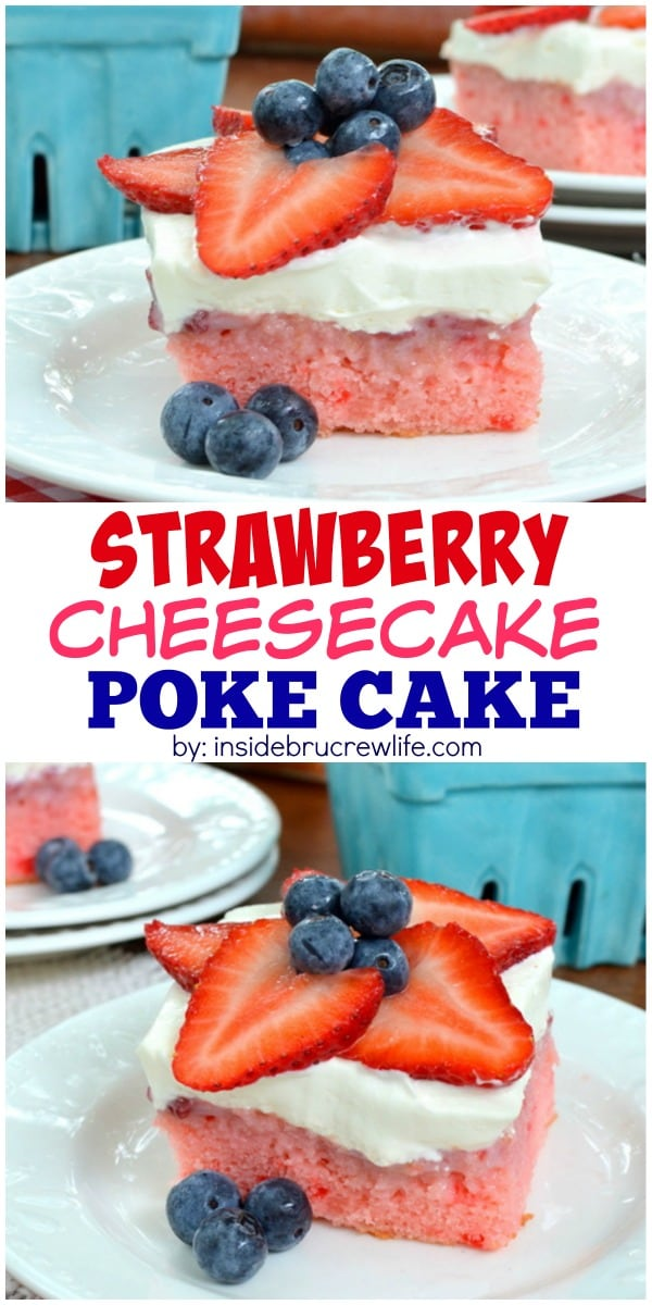 This easy strawberry cake is topped with a cheesecake mousse frosting and fresh berries.