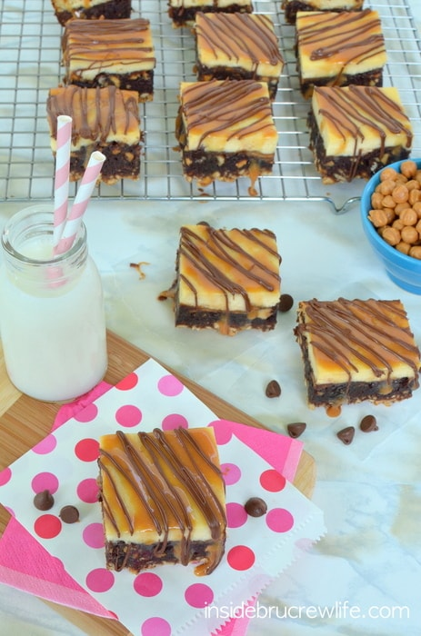 Take 5 Cheesecake Brownies - cheesecake brownies with a Take 5 candy bar twist http://www.insidebrucrewlife.com