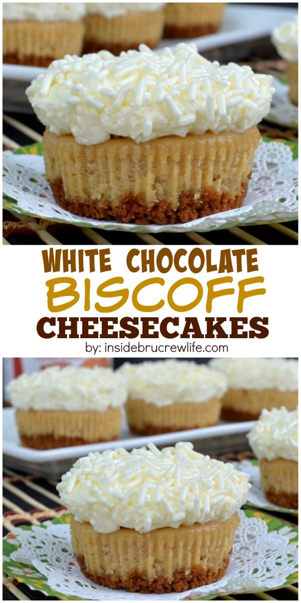 Biscoff cookie crust with a Biscoff cheesecake that is topped with white chocolate mousse makes an absolutely amazing mini dessert. These are a family favorite!