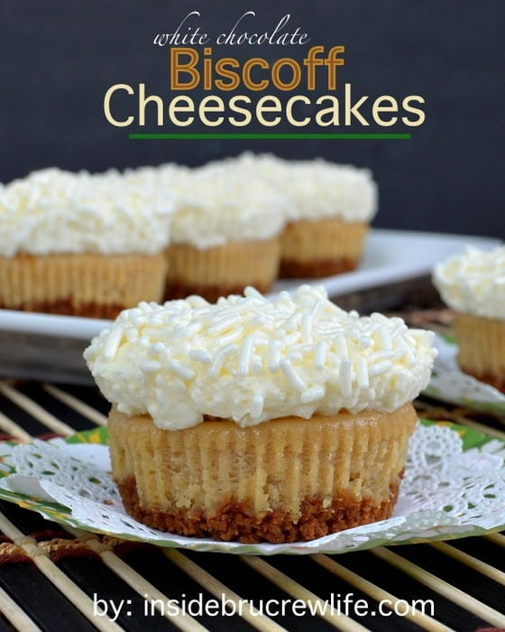 White Chocolate Biscoff Cheesecakes