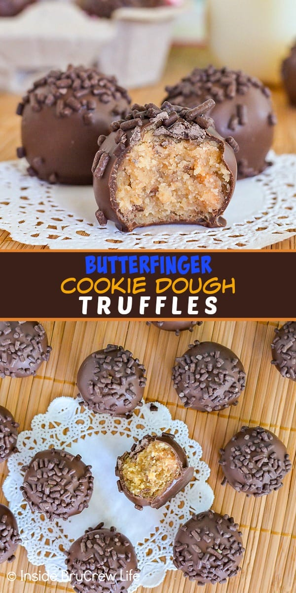 Two pictures of butterfinger cookie dough truffles collaged together with a brown text box
