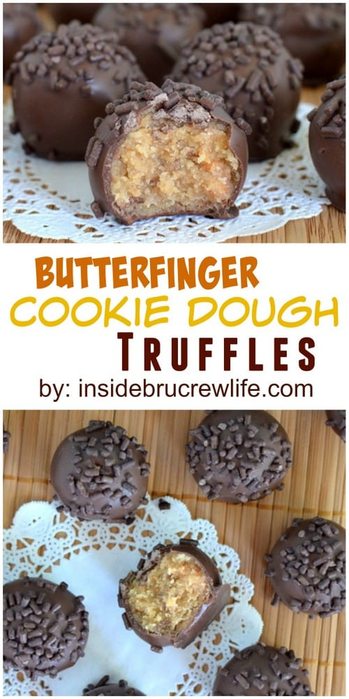 These easy no bake cookie dough truffles are filled with Butterfinger candy bars and dipped in chocolate. So delicious!