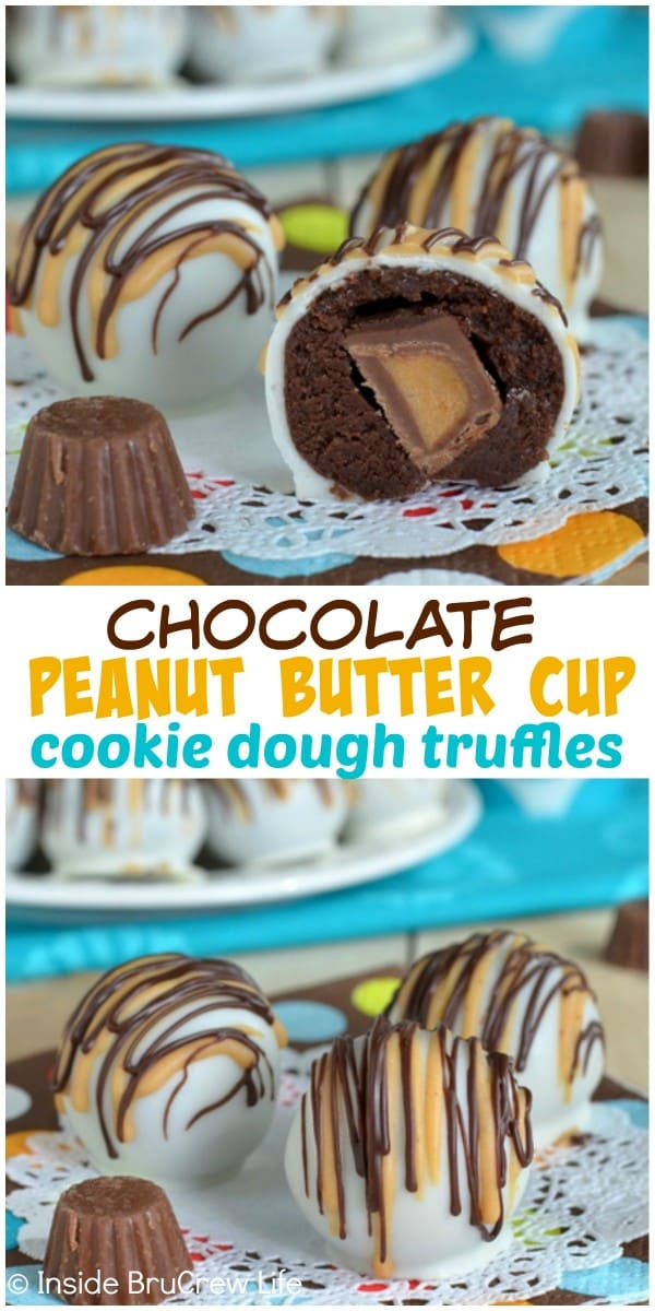 Hiding mini peanut butter cups inside these Chocolate Peanut Butter Cup Cookie Dough Truffles makes a very fun no bake dessert to bite into!