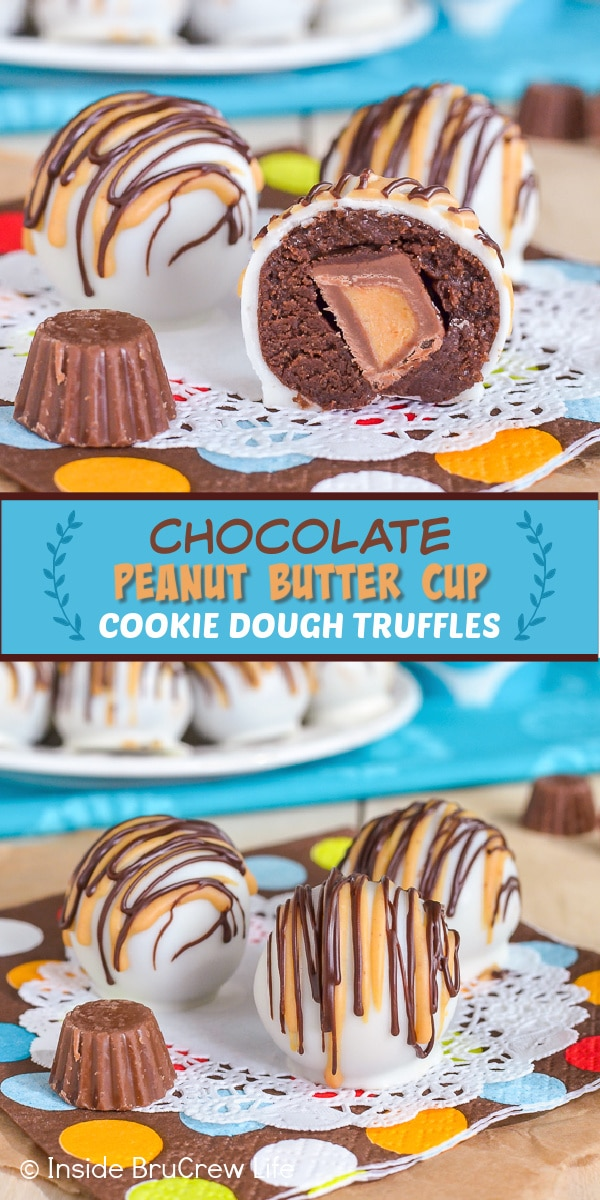 Two pictures of chocolate peanut butter cup cookie dough truffles collaged together with a teal text box