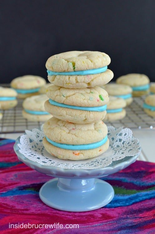 Cotton Candy Whoopie Pies - easy cake mix cookies filled with a Cotton Candy frosting http://www.insidebrucrewlife.com