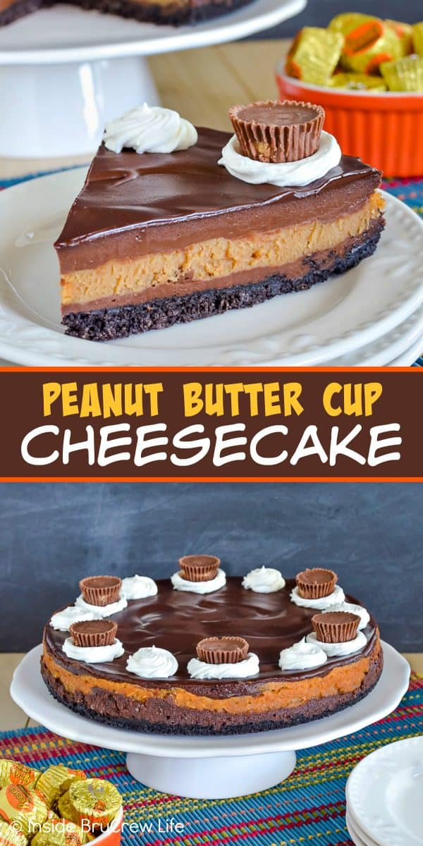 Peanut Butter Cup Cheesecake - creamy layers of chocolate and peanut butter cheesecake on an Oreo crust with more chocolate and candies is a delicious dessert. Make this awesome recipe for all your dinner parties! #cheesecake #peanutbutter #chocolate #peanutbuttercups