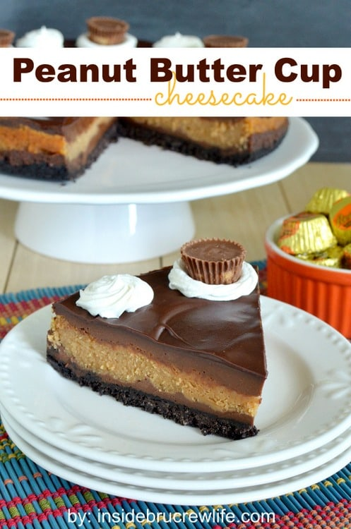 Chocolate and peanut butter cheesecake layers with a chocolate topping and peanut butter cup candies
