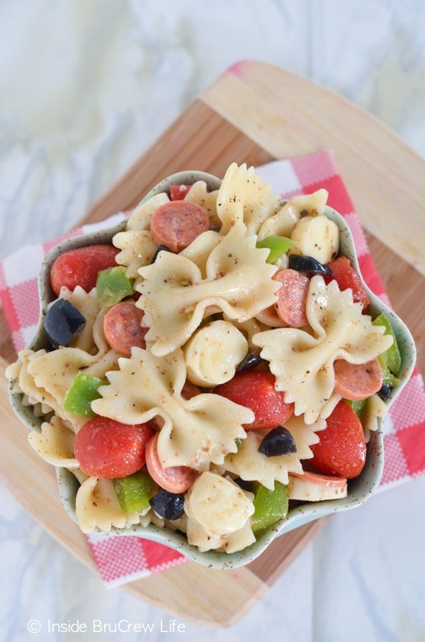 Pasta loaded with pizza toppings makes the best salad for dinner.