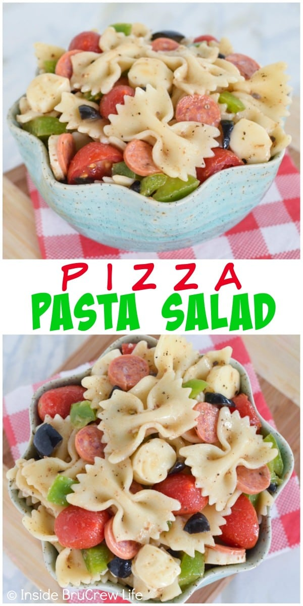 Add your favorite pizza toppings to this easy pasta salad. It's a perfect dinner choice.