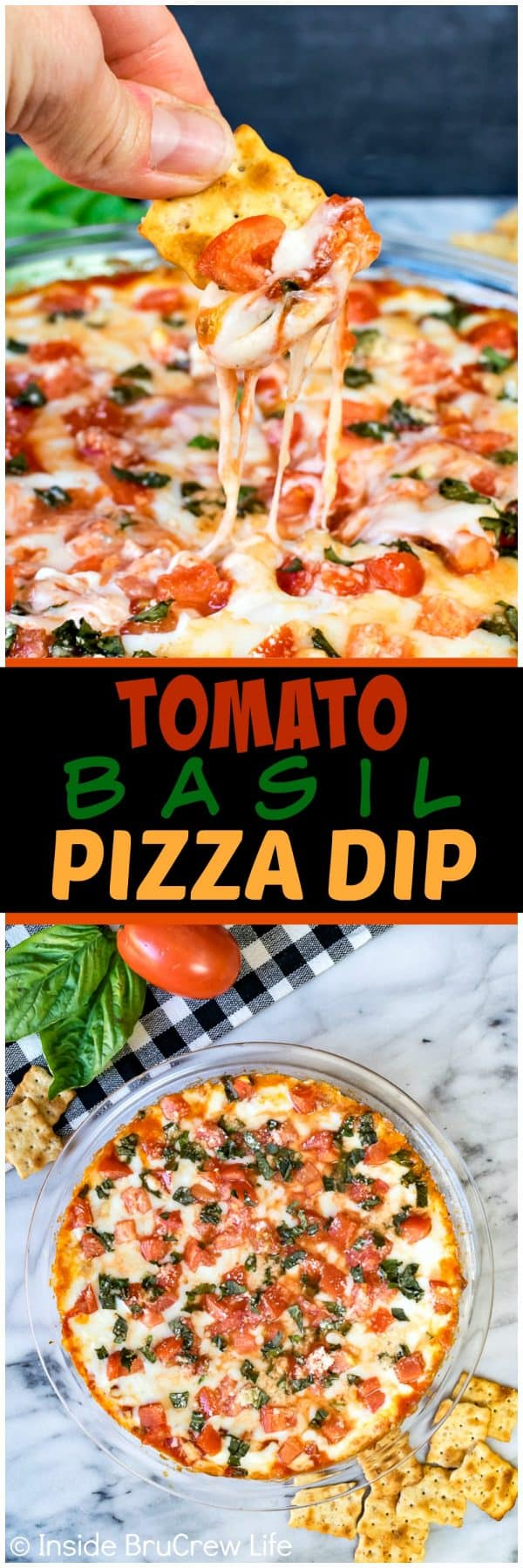Tomato Basil Pizza Dip - gooey melted cheese loaded with fresh tomatoes and basil makes a delicious pizza dip that will disappear in minutes. Great recipe for after school snacks or game day parties!
