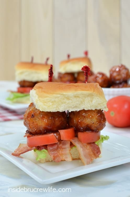 BLT Meatball Sliders - lettuce, tomato, and bacon adds so much flavor to these easy barbecue meatball sandwiches. Great recipe for game day parties!