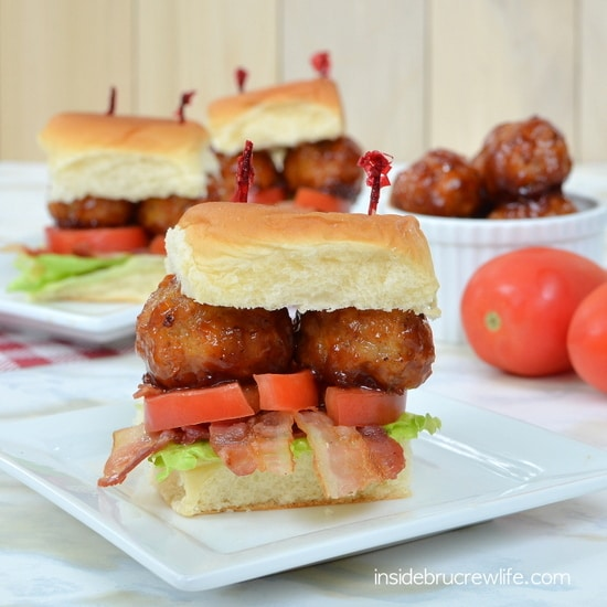 BLT Meatball Sliders - these easy meatball sandwiches are perfect for eating while watching the game. Easy recipe for dinner or game day parties!