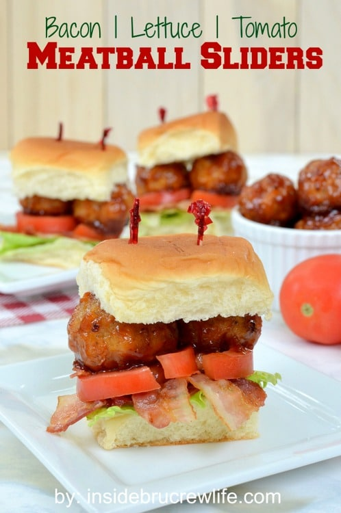 BLT Meatball Sliders - homemade barbecue meatballs inside a roll with bacon, lettuce, and tomato makes a great sandwich. Easy recipe for game day parties!