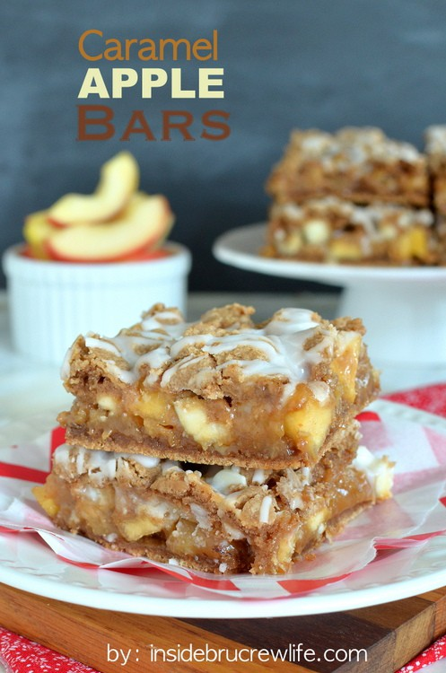 Caramel Apple Bars - these easy cake mix bars are full of caramel and apple and are amazing with a scoop of ice cream https://www.insidebrucrewlife.com