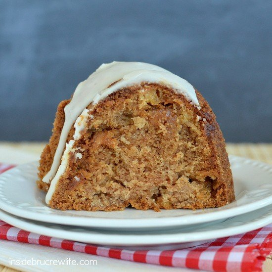 Caramel Apple Bundt Cake - apple and caramel bits make this one delicious spice cake for fall. #cake #apple #fall #dessert #caramelapple #bundtcake #applecider