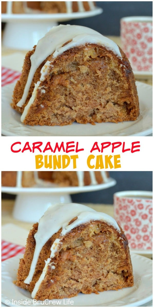 Caramel Apple Bundt Cake - fresh apples, caramel bits, and a glaze make this a delicious cake. Make this easy recipe for all your fall parties! #cake #apple #fall #dessert #caramelapple #bundtcake #applecider