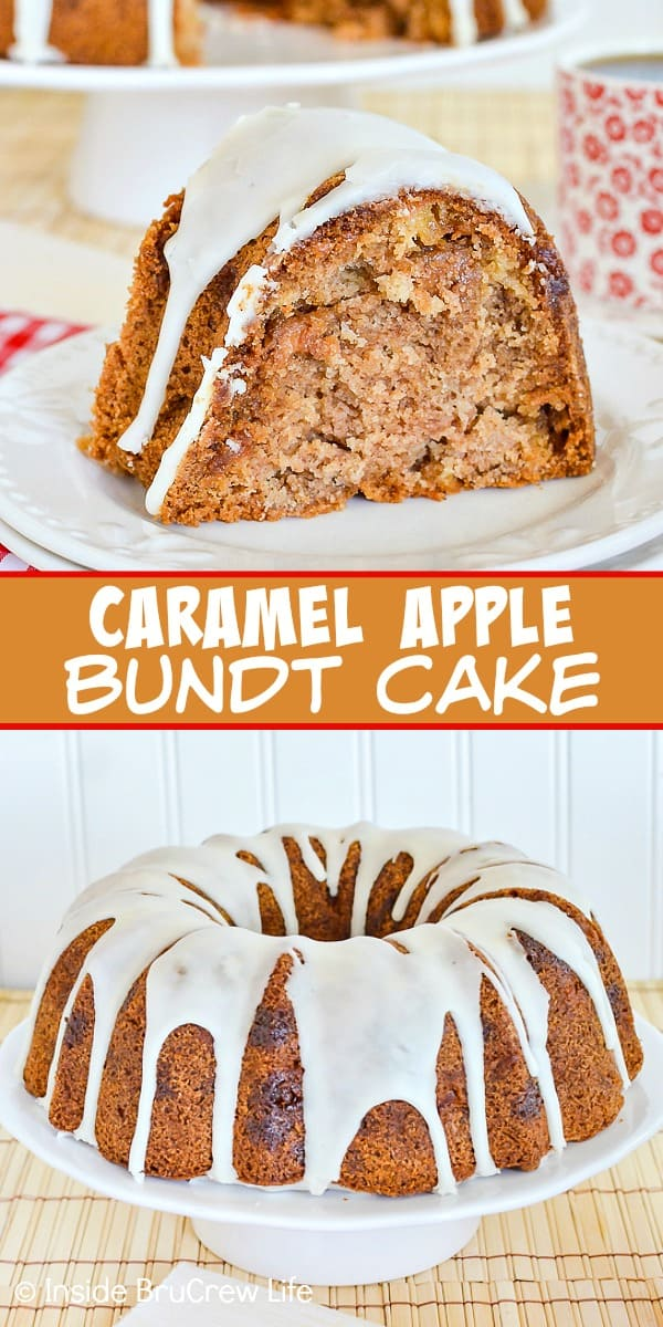 Caramel Apple Bundt Cake - caramel bits and an apple cider glaze make this easy apple cake taste amazing. Great recipe to make for fall parties! #cake #apple #fall #caramelapple #bundtcake #applecider