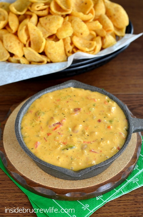 Spicy cheese dip with a fun fajita twist is perfect for game day snacking!